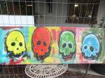 4 skulls / Acryl auf altes Leinen / kein Keilrahmen / Rahmen selbst gebaut und verschraubt / von Marc Schmelz / 2013 / ca 60x192x5