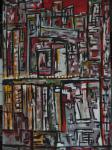 Tokio / Acryl auf altes Leinen / kein Keilrahmen / Rahmen selbst gebaut und verschraubt / von Marc Schmelz / 2013 / ca 80x130x5