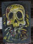 Schädel / Acryl auf altes Leinen / kein Keilrahmen / Rahmen selbst gebaut und verschraubt / von Marc Schmelz / 2013 / ca 82x126x5
