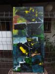 Asimov / Acrylfarbe auf recyceltes Leinen / fester Rahmen / 2013 / von Marc Schmelz / ca.127x58x5cm