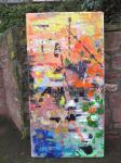 Acrylbild / Spring / A198cm x 99 cm x 6cm / Acrylfarbe auf recycelten Leinentuch / Rahmen fest (ebenfalls recyceltes Holz) / von Marc Schmelz / 2014