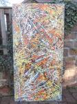 Acrylbild / Jungle / Action-Painting von Marc Schmelz / 2014 / Acryl auf recyceltes Leinen / ca 100 x 200 x 8cm /