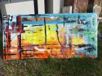 Oceanside / Acryl auf recycling Leinen / original / ca 190 x 90 x 6 cm / 2014 / Marc Schmelz